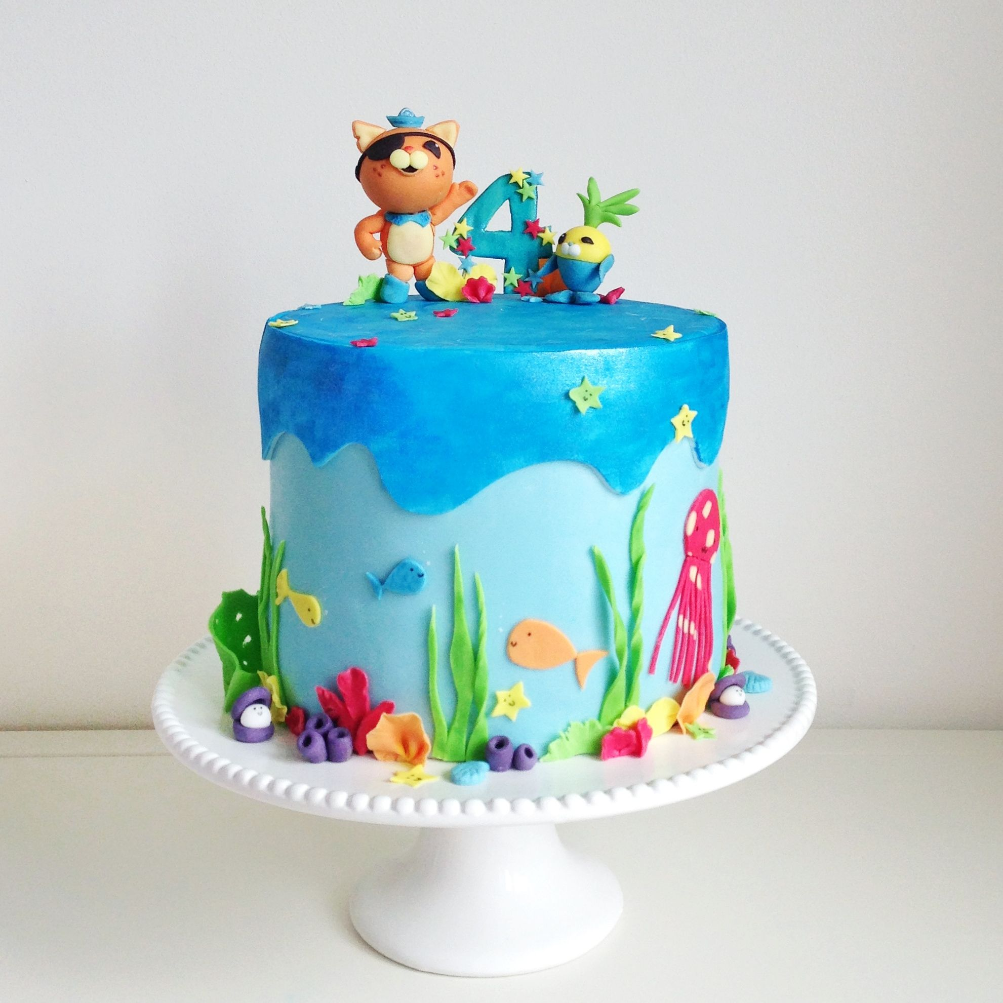 Octonauts Underwater Extravaganza with Kwazii & Tunip Edible Toppers - 4th Birthday Cake, chocolate with Oreo buttercream frosting & chocolate ganache