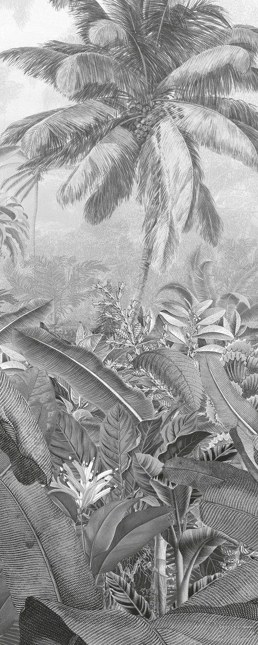 Frais Caribbean Black and White Mural Jungle Wallpaper