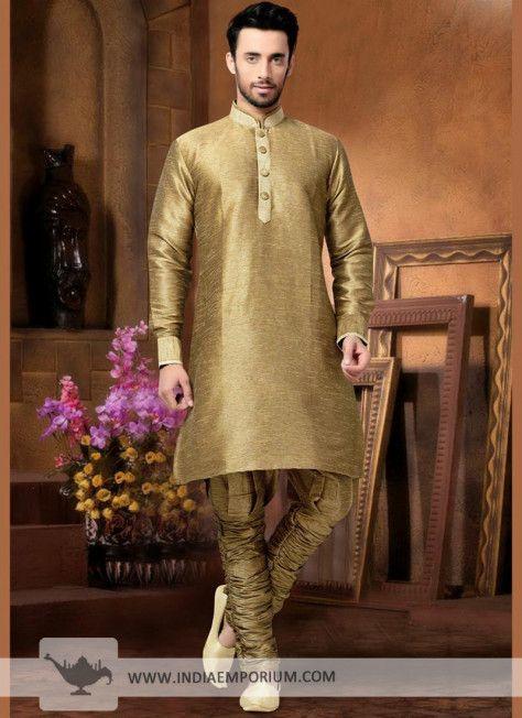 9634ba4cfc Royal Golden Silk Kurta Pyjama | Kurta Pajamas | Indo western kurti ...