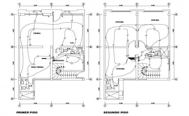 Residential Bungalow Electrical Layout In Autocad Electrical Layout Open House Plans Bungalow Design