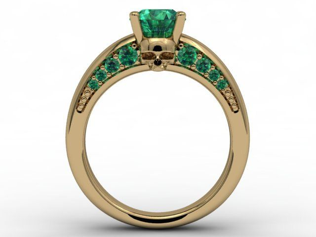 8e07cdfb655c Skull Engagement Ring-18k Yellow Gold 6mm Round Emerald Center ...