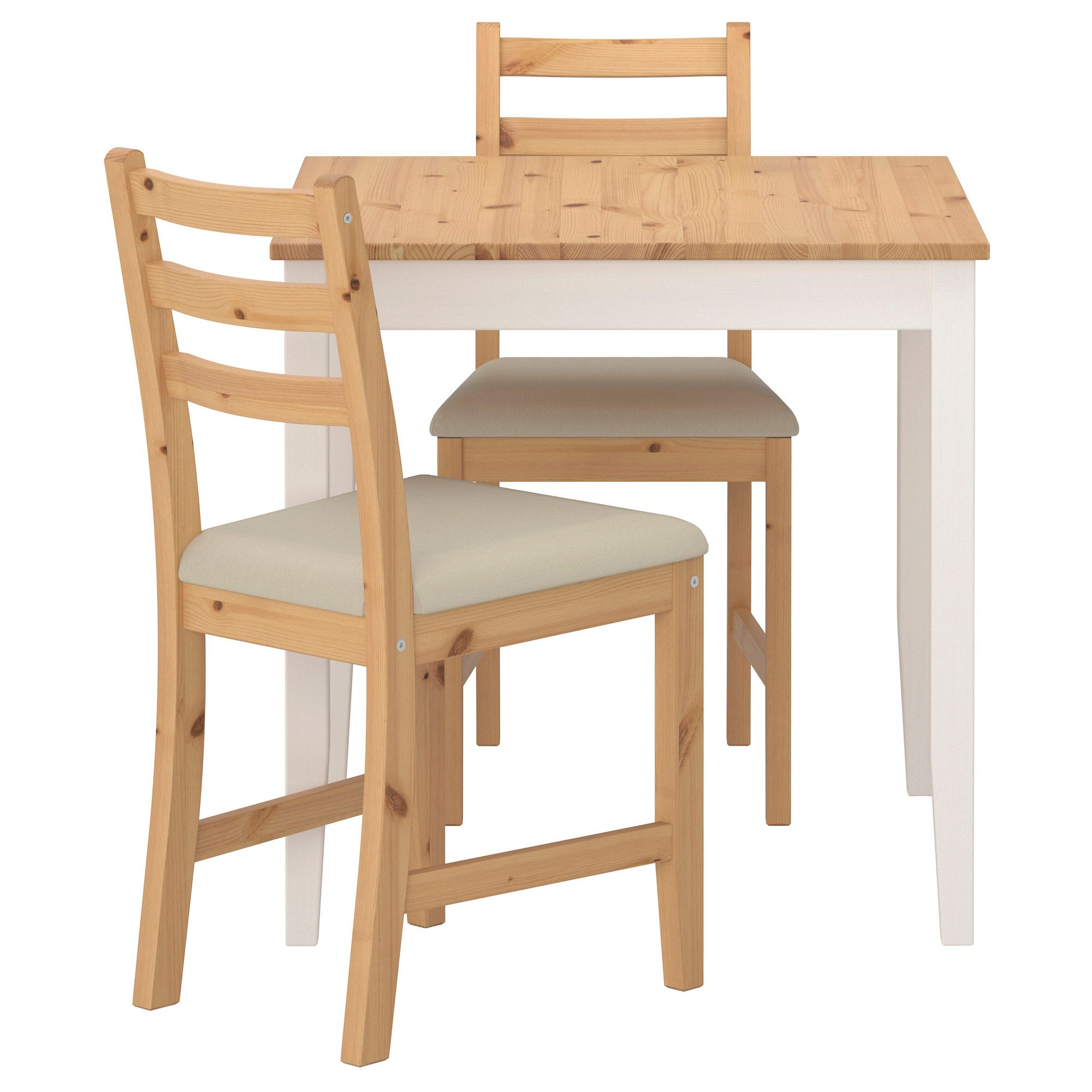 LERHAMN Table and 2 chairs light antique stain Vittaryd beige
