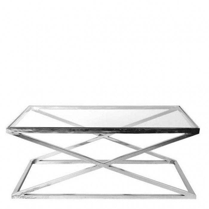 Black Orchid | Luxury Venice Silver Cross Coffee Table Furniture Surface  Coffee Table Metal Silver