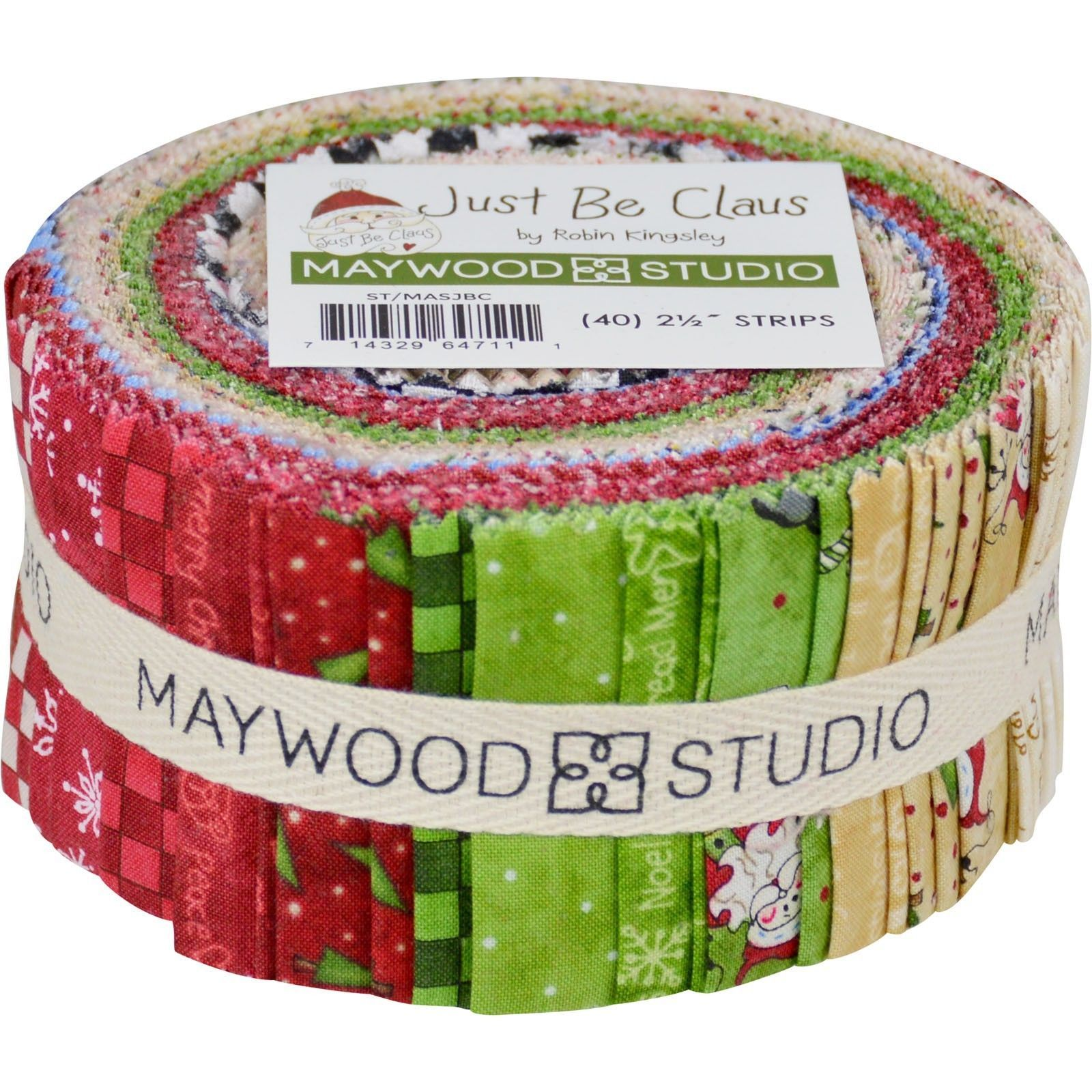 fabric 28162 just be claus christmas jelly roll fabric 40 strips 25 w x 44 maywood studio buy it now only 37 on ebay