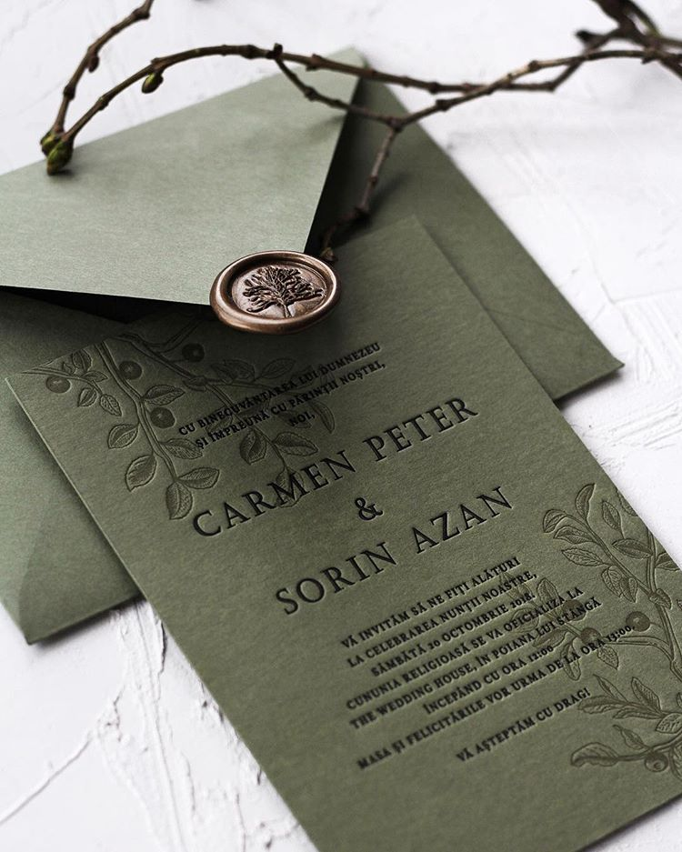 Matchy-matchy Letterpress Invite And Handmade Envelope