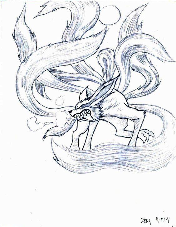 Nine Tail Demon Fox By Novedlove Desenho A Lapis Desenhos De