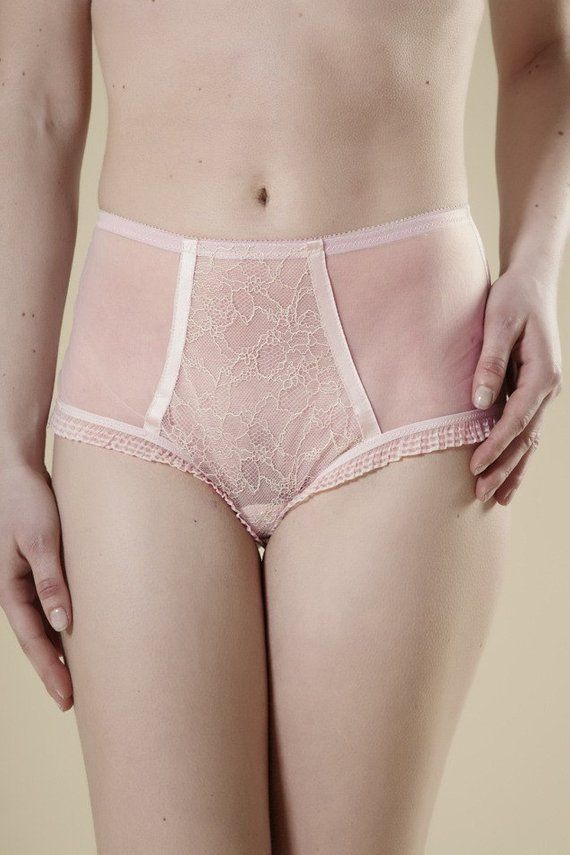 02104c7a5 Sheer Pink   Cream Chantilly Lace Vintage Style Panties Knickers in ...