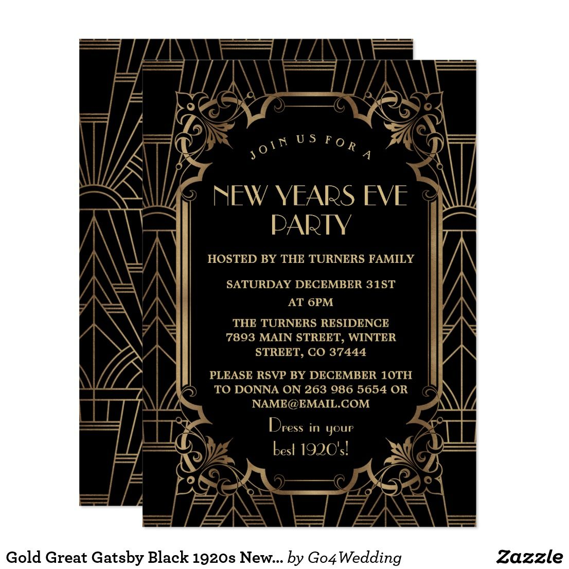 Gold Great Gatsby Black 1920s New Year Party Card | New Years ...