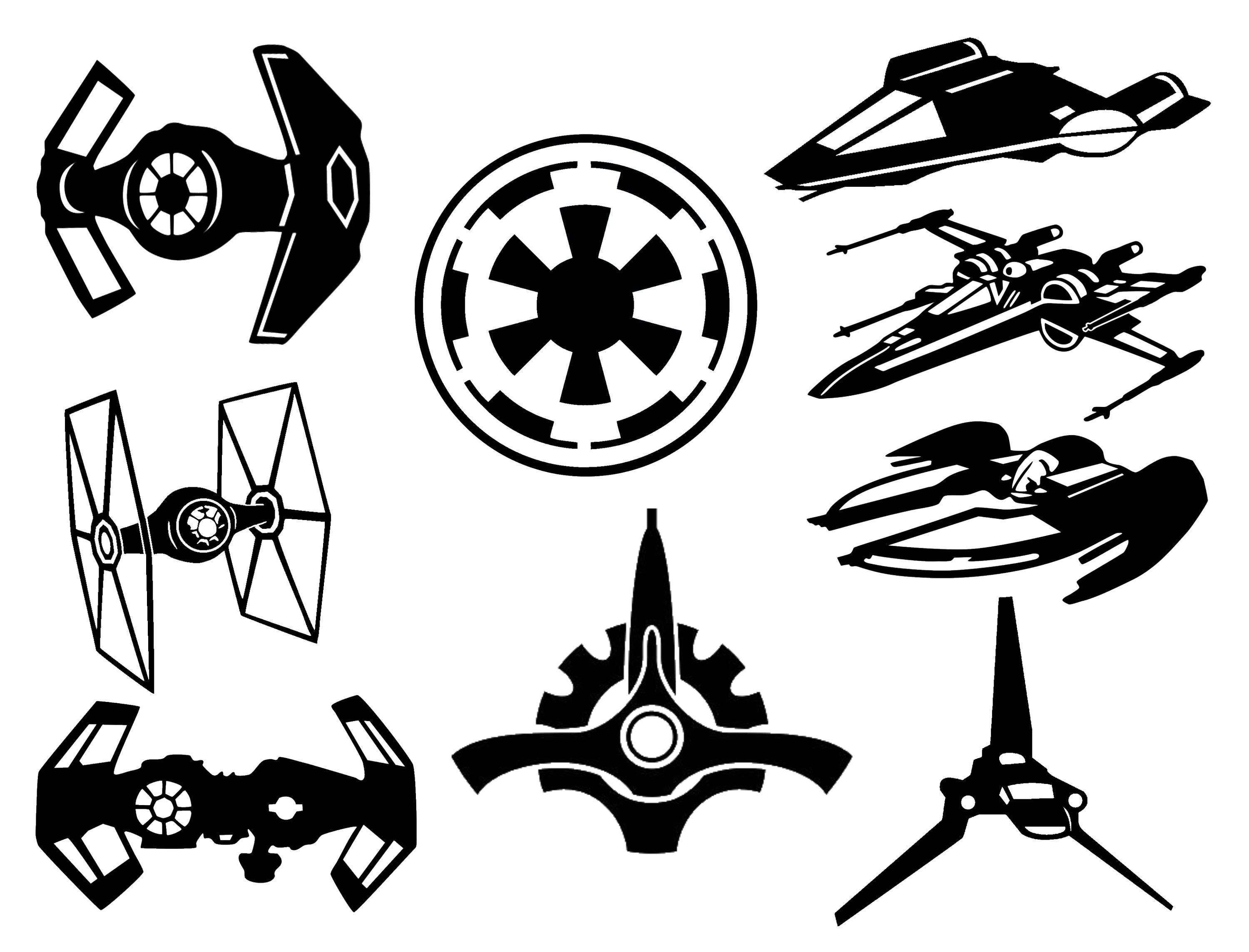 Star Wars Decal Collection 7 Spacecraft And 2 Symbols Vinyl Sticker Car Truck Laptop Wall Window Or Any Smooth Su Star Wars Decal Nature Decal Butterfly Decal [ 2288 x 3000 Pixel ]