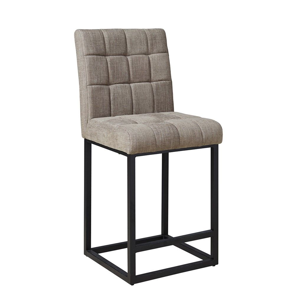 A beautiful upholstered grey counter stool with a