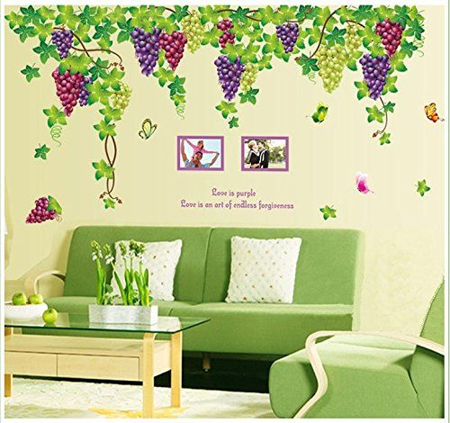 BIBITIME Plants Purple Grape Vines Green Leaves Butterflies English ...