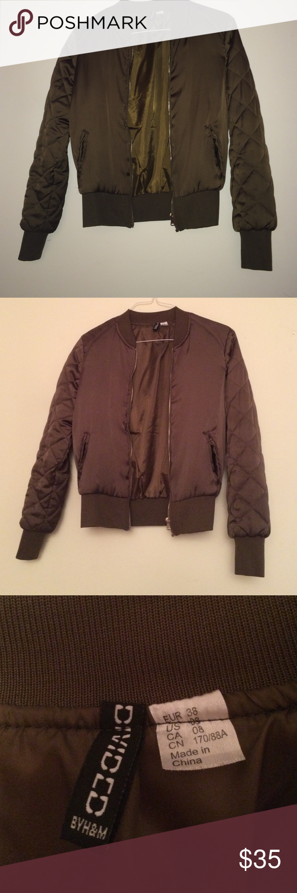 Quilted bomber jacket Quilted satin bomber jacket from H&M, sought after and sold out. Very good quality and only worn twice with no signs of wear. Retailed for $60. Listed as topshop for visibility Topshop Jackets & Coats