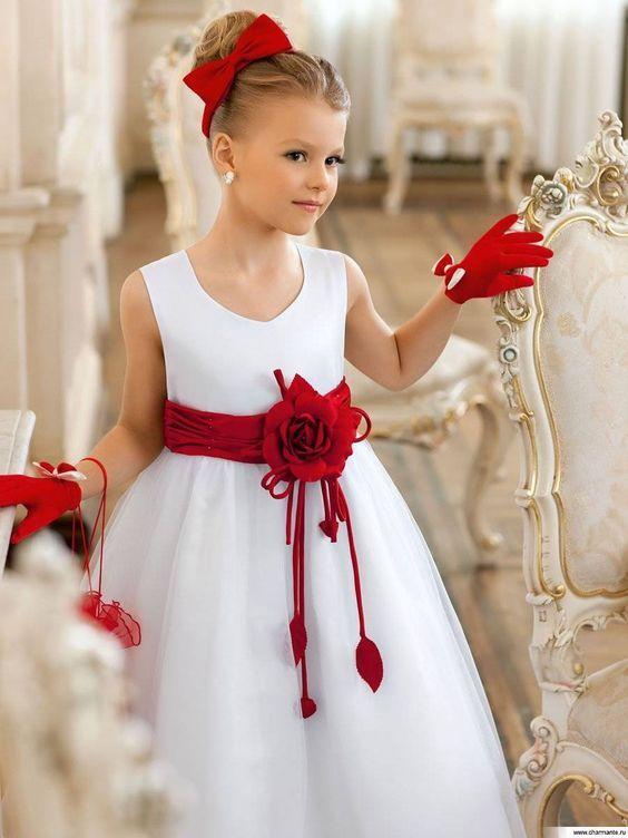 Vestido de fiesta rojo nina