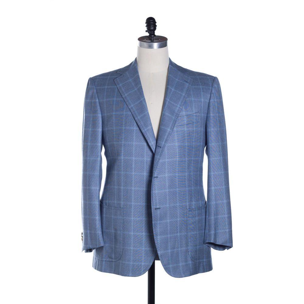 CESARE ATTOLINI Sport Coat Mens 60 / 50 L Blue Windowpane Hand Tailored in Italy #CesareAttolini #ThreeButton