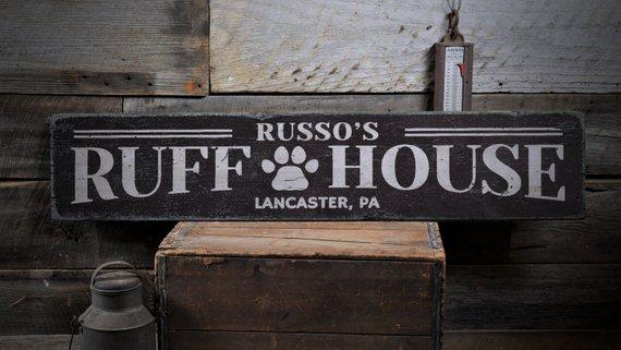 Ruff House Sign Dog House Decor Dog House Sign Custom Dog Sign