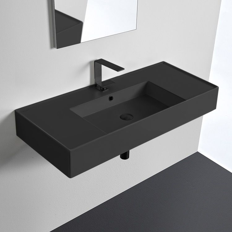Scarabeo 5124 49 Bathroom Sink Teorema 2 In 2020 Wall Mounted Bathroom Sinks Diy Bathroom Black Bathroom