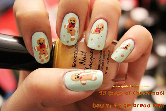 Christmas Nail Art Eating Gingerbread Men Cookies