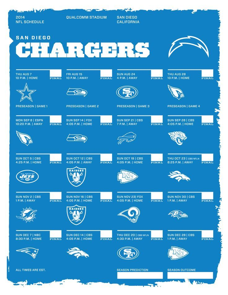 san diego chargers 2014 season schedule san diego chargers pinterest