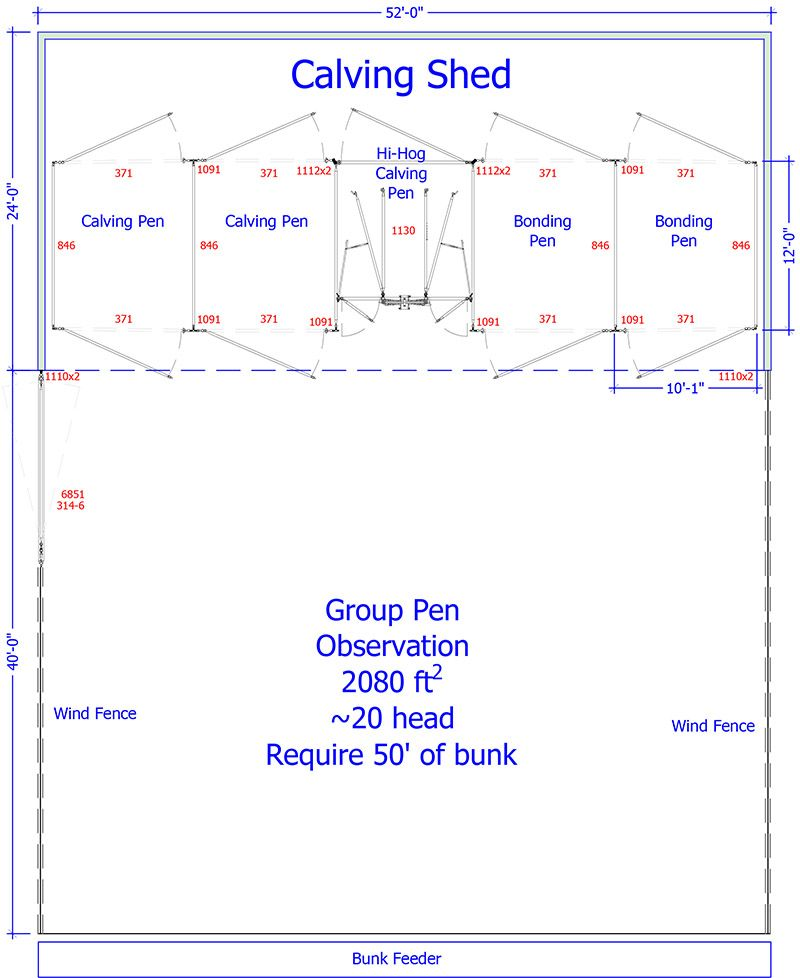 Sample calving barn plan including Hi-Hog's calving chute ...