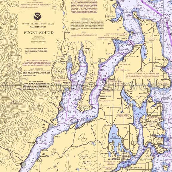 Washington Quilcene Dabob Bay Hood Canal Nautical Chart Decor