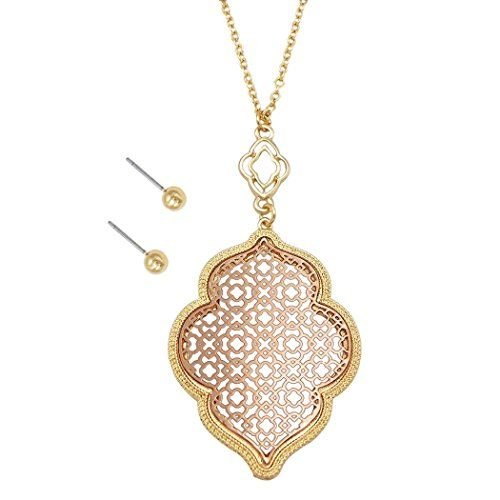 Rosemarie Collections Womens Moroccan Metal Cut Out Pendant