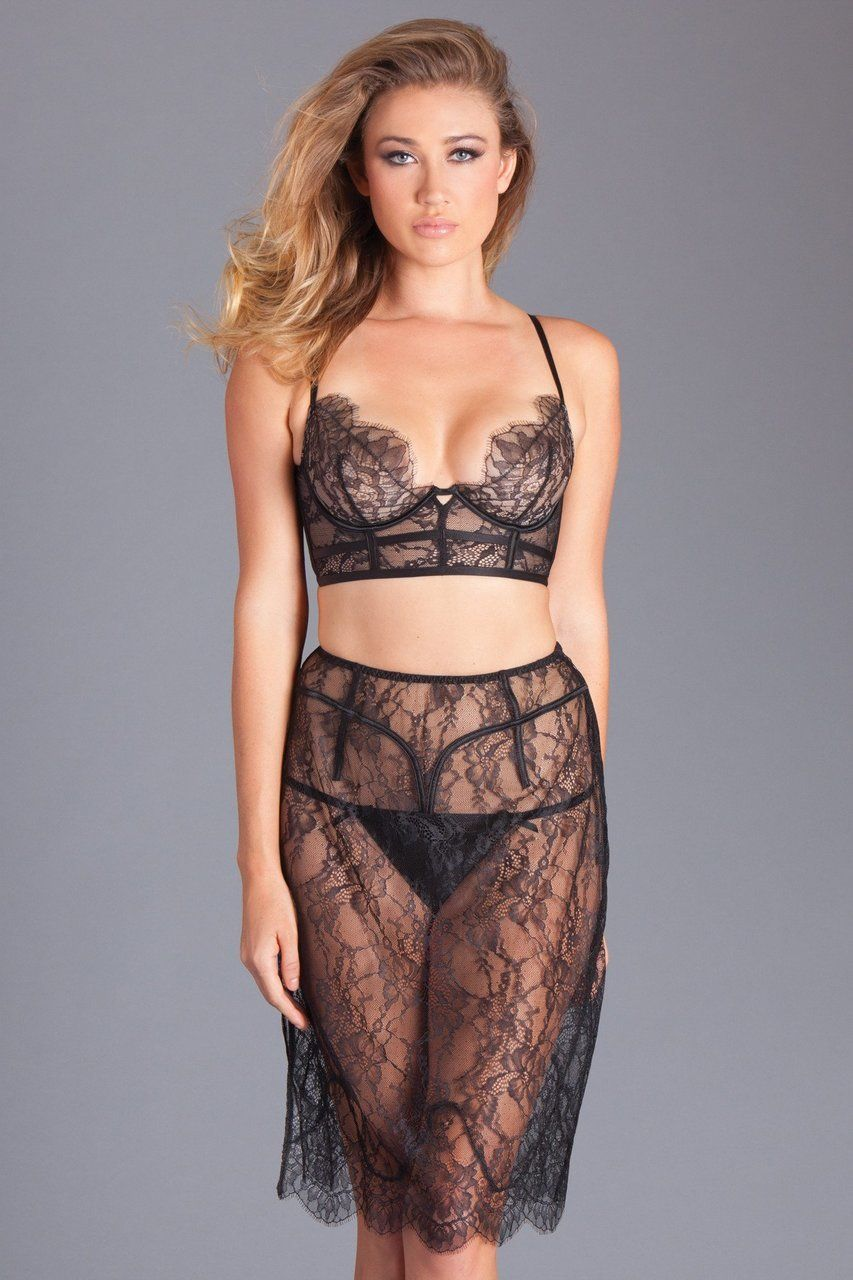 b6d75b85f Sexy Be Wicked Black Eyelash Lace Underwired Bralette and Skirt Lingerie Set