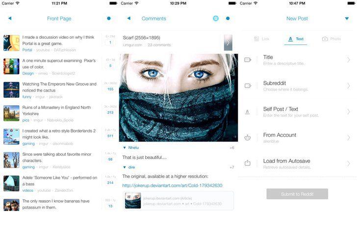 Reddit's Alien Blue App App, Ios 8, Ios