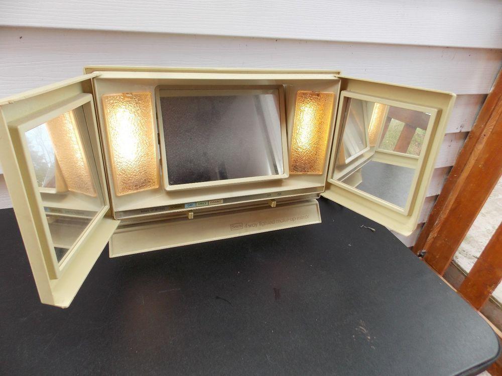Vintage 1970s Sears 4 Way Lighted Make Up Mirror Works