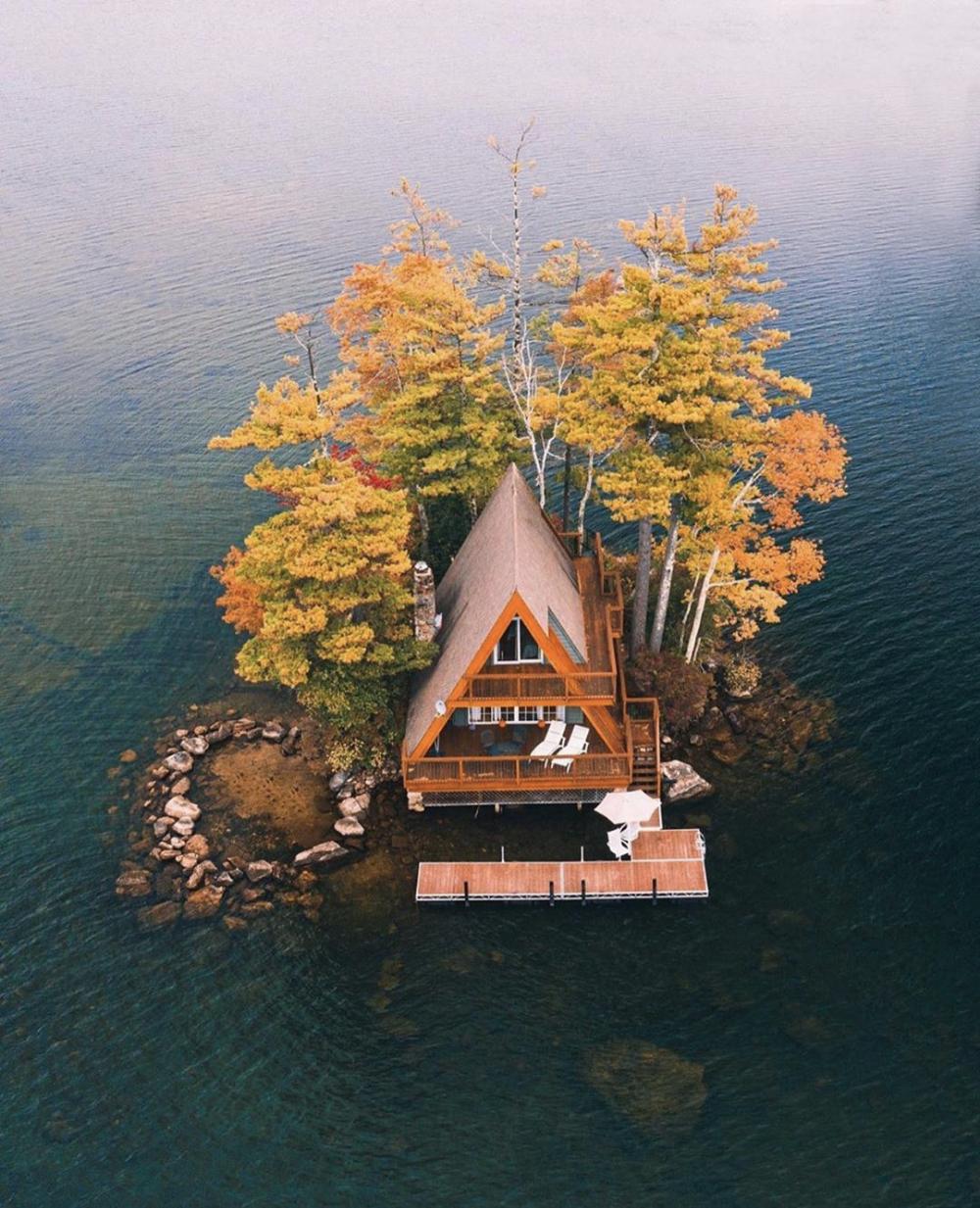 This A Frame Is On An Island In Lake Cabin Life Lake Winnipesaukee Lake Cabins