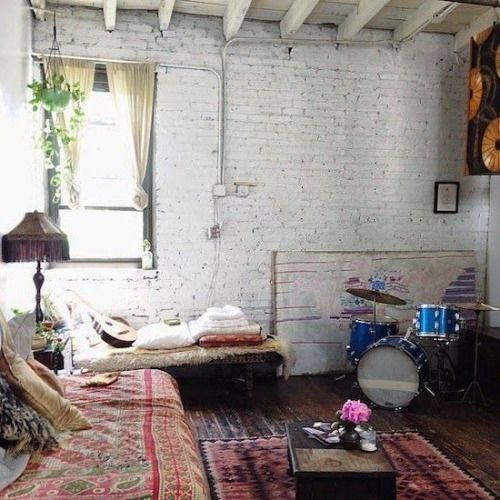 Beautiful Hippie Boho Guitar Bohemian Interior Design Details Interiors Loft Studio Interior