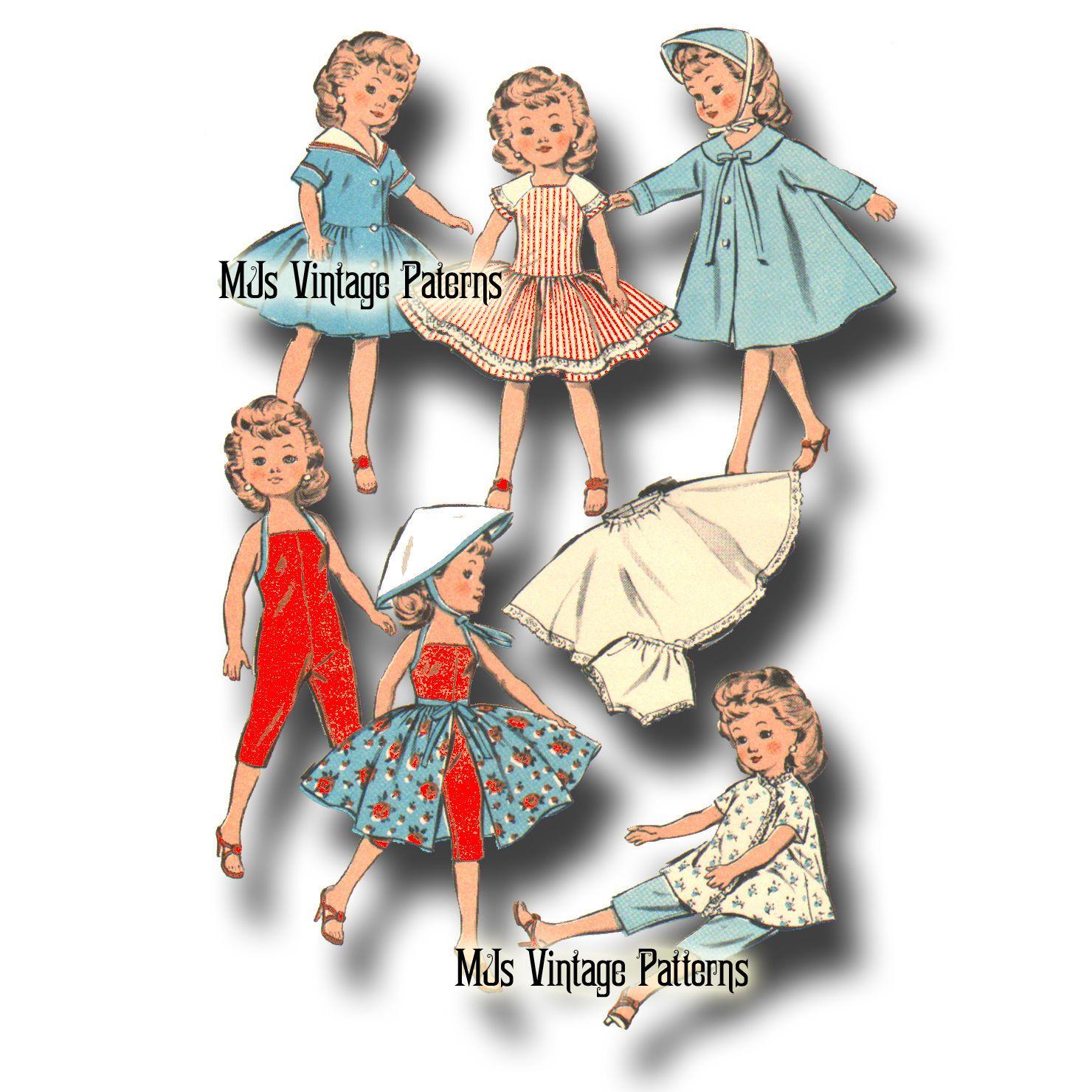 Vtg 1950s Doll Clothes Dress Pattern Little Miss Revlon Cissette Jill Toni | eBay