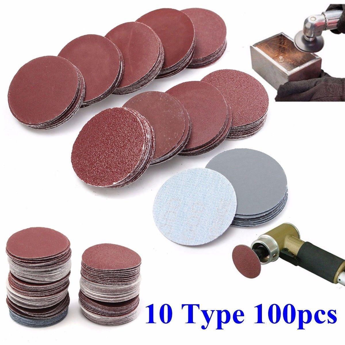 100x 2inch50mm Mixed Sander Sanding Discs 80-3000 Grit Pads Hook Loop Sandpaper