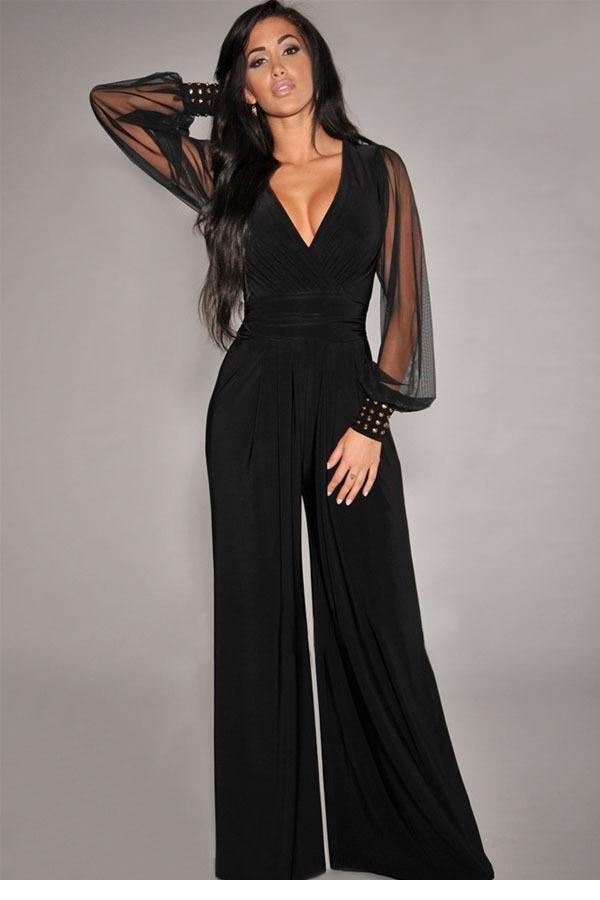 new 2014 hot sale autumn Black V neck Embellished Cuffs Long Mesh Sleeves  formal women's Jumpsuit - New 2014 Hot Sale Autumn Black V Neck Embellished Cuffs Long Mesh