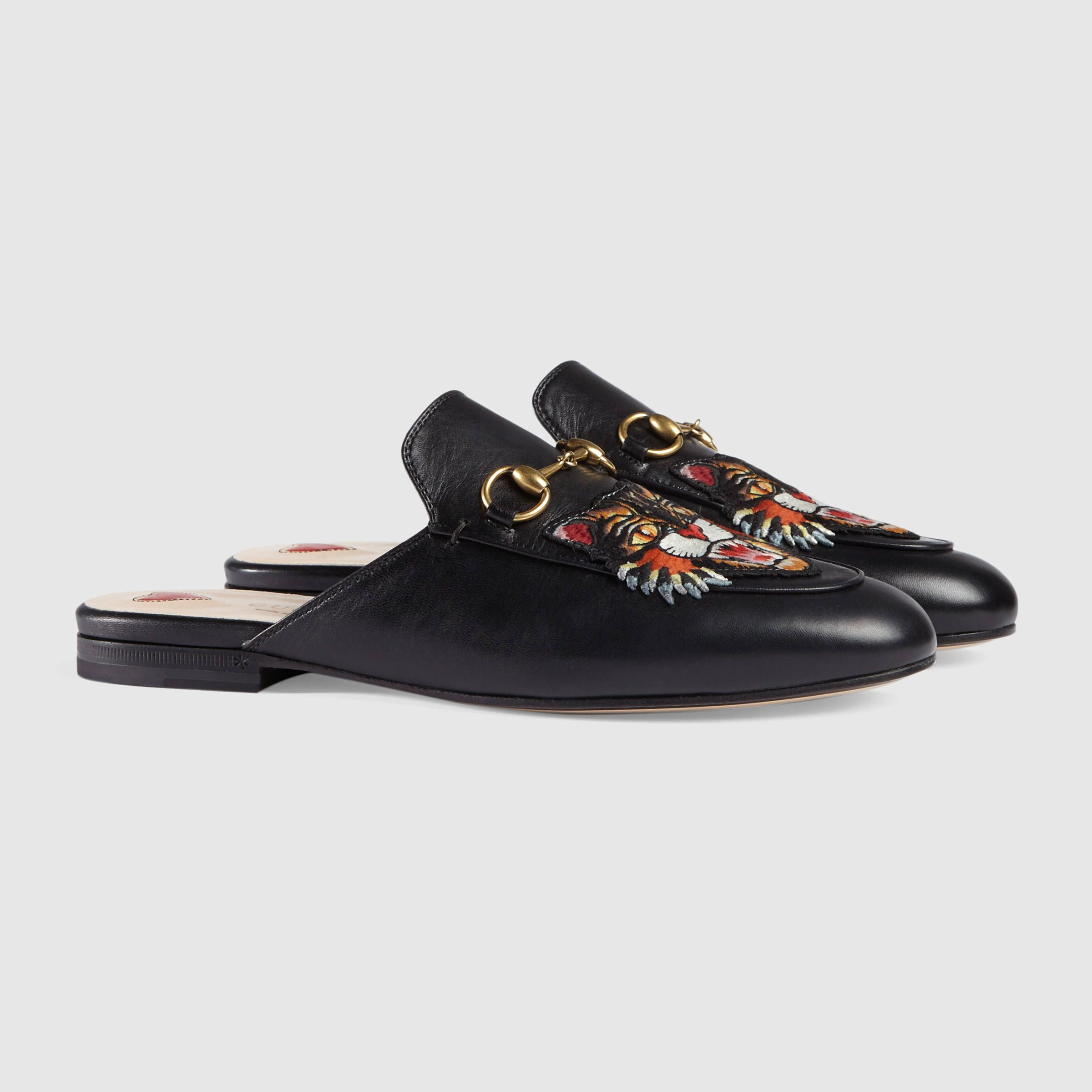 758757178 Gucci Princetown leather slipper with angry cat Detail 2