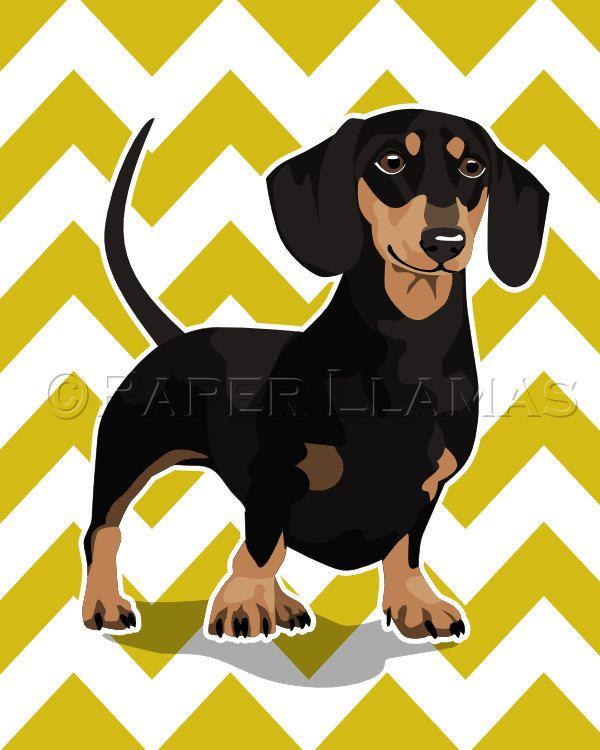 Dachshund Wiener Dog art print black and tan - custom dog wall art ...