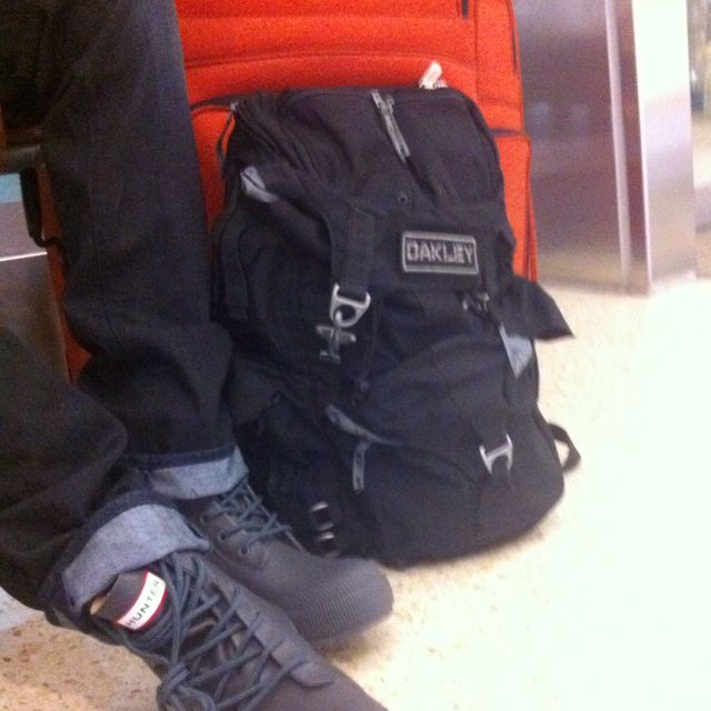 My favorite backpack and boots a must need for traveling. Oakley tactical bag and Hunter Rain Boots.