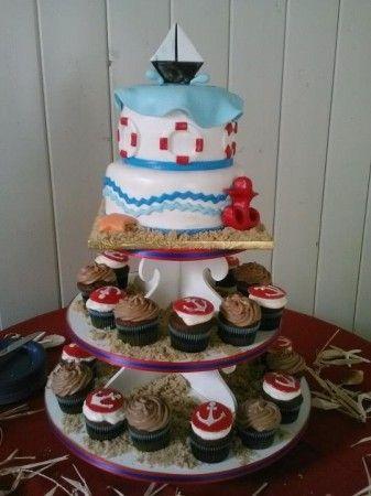 Sailor Boat cake on the cupcake tower - nautical theme