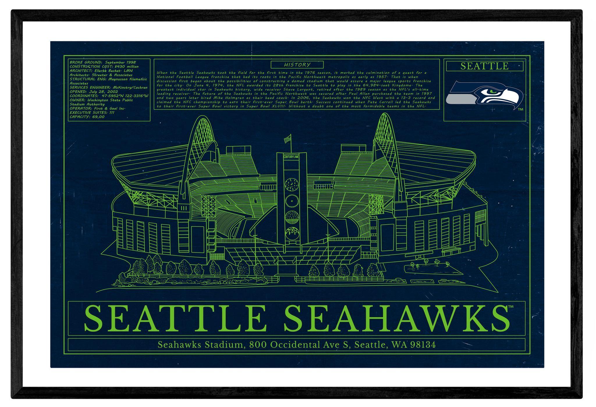 Moderno Arte Seahawks Enmarcada Bosquejo - Ideas Personalizadas de ...