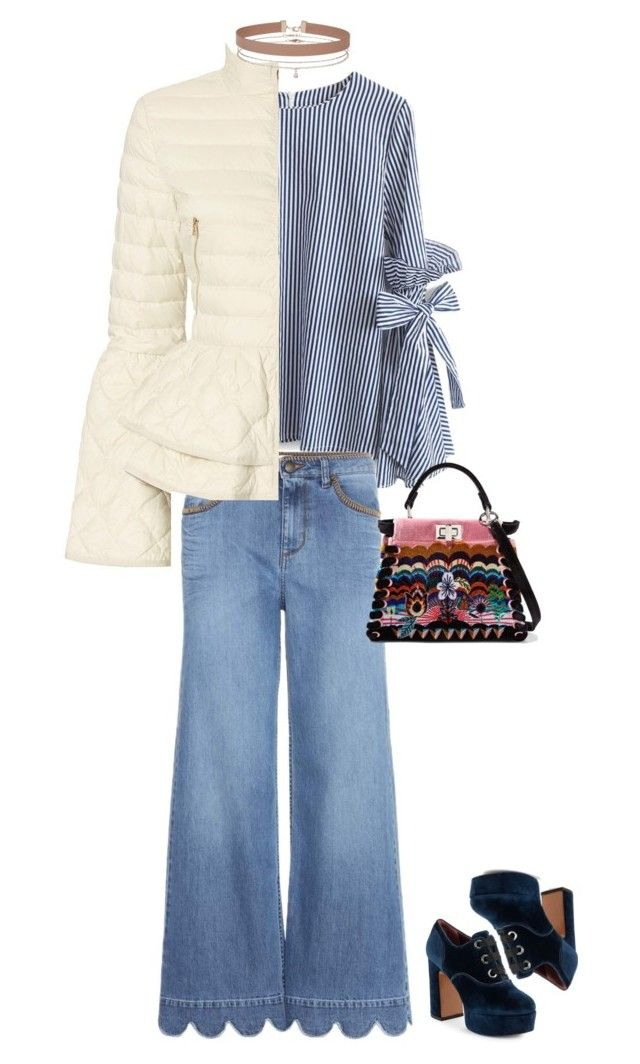 """""""Chicwish Stripes Top with Bell Sleeves"""" by marialibra ❤ liked on Polyvore featuring Chicwish, RED Valentino, Elizabeth Roberts, Marc Jacobs, Fendi and Miss Selfridge"""