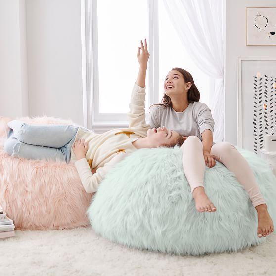 Himalayan Faux Fur Blush Beanbag Slipcover Furniture