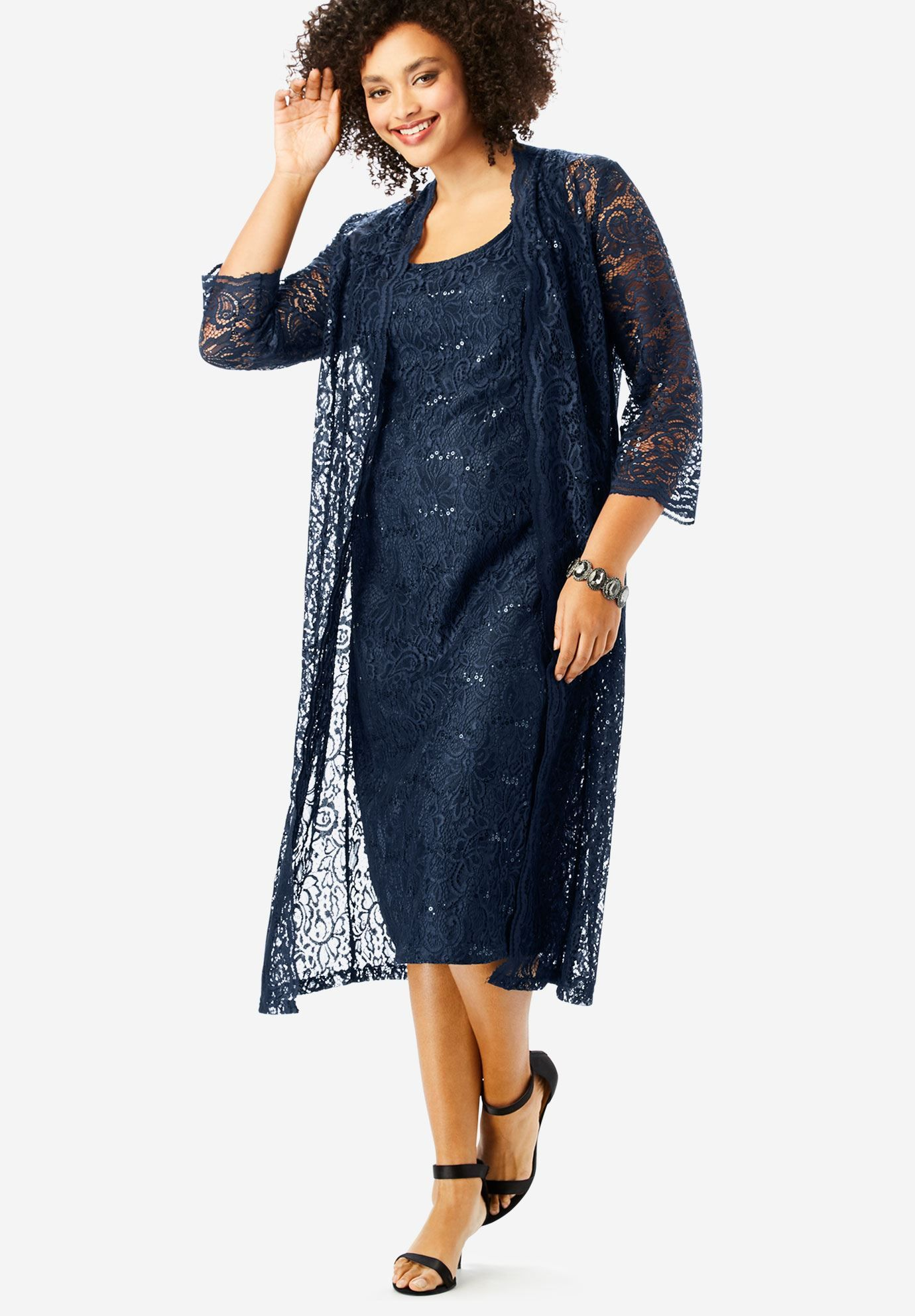 Flyaway Full Length Jacket Dress, NAVY | mother of bride ...