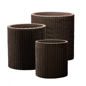 Keter 3 Piece Round Rattan Planter Set