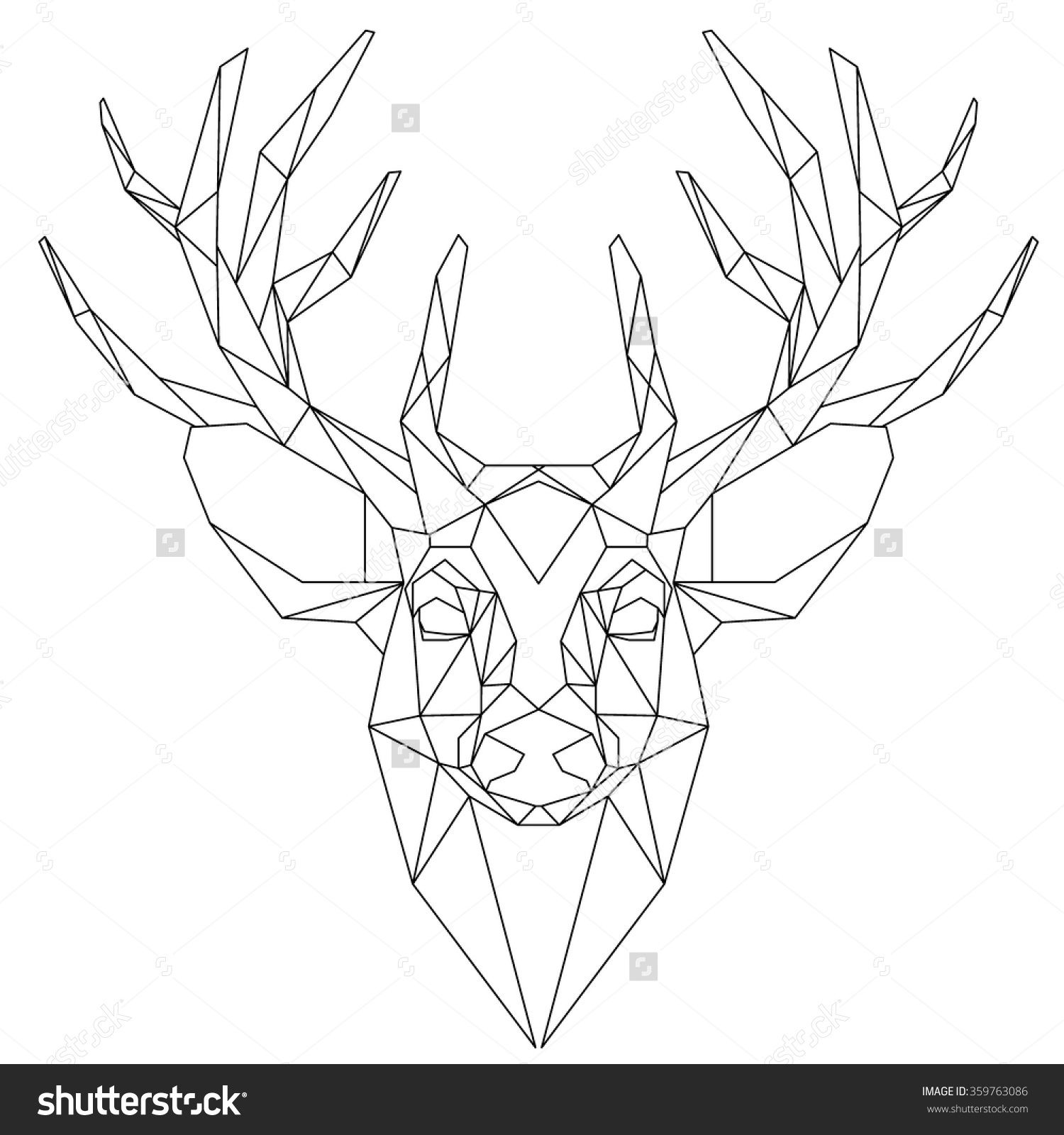 Animal Head Triangular Icon Geometric Trendy Line Design Vector Illustration Ready For Tattoo Or Coloring Book Deer