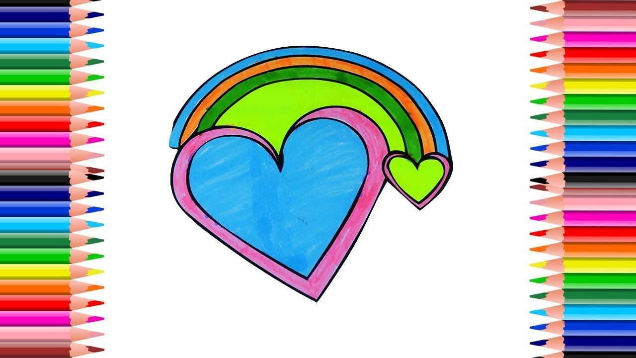 Coloring Phow To Draw Rainbow Heart Pages Heart Drawing For Kids