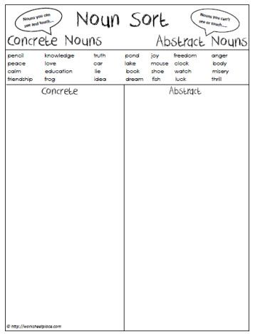 Abstract or concrete nouns worksheets pinterest for Concrete diction