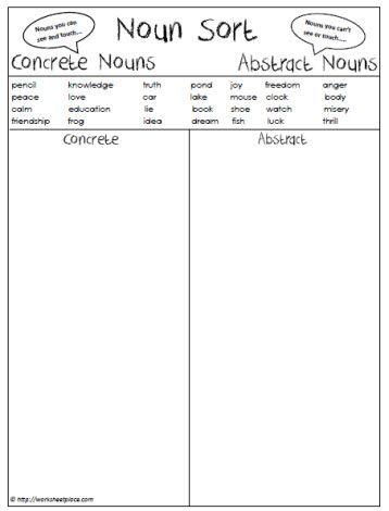 abstract or concrete nouns worksheets pinterest concrete language and language arts. Black Bedroom Furniture Sets. Home Design Ideas
