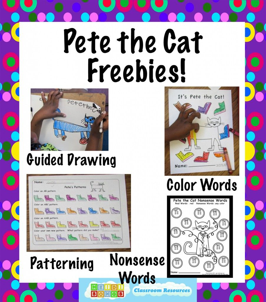 Pete the Cat Freebies- Guided Drawing, and More! | Worksheets, Cat ...