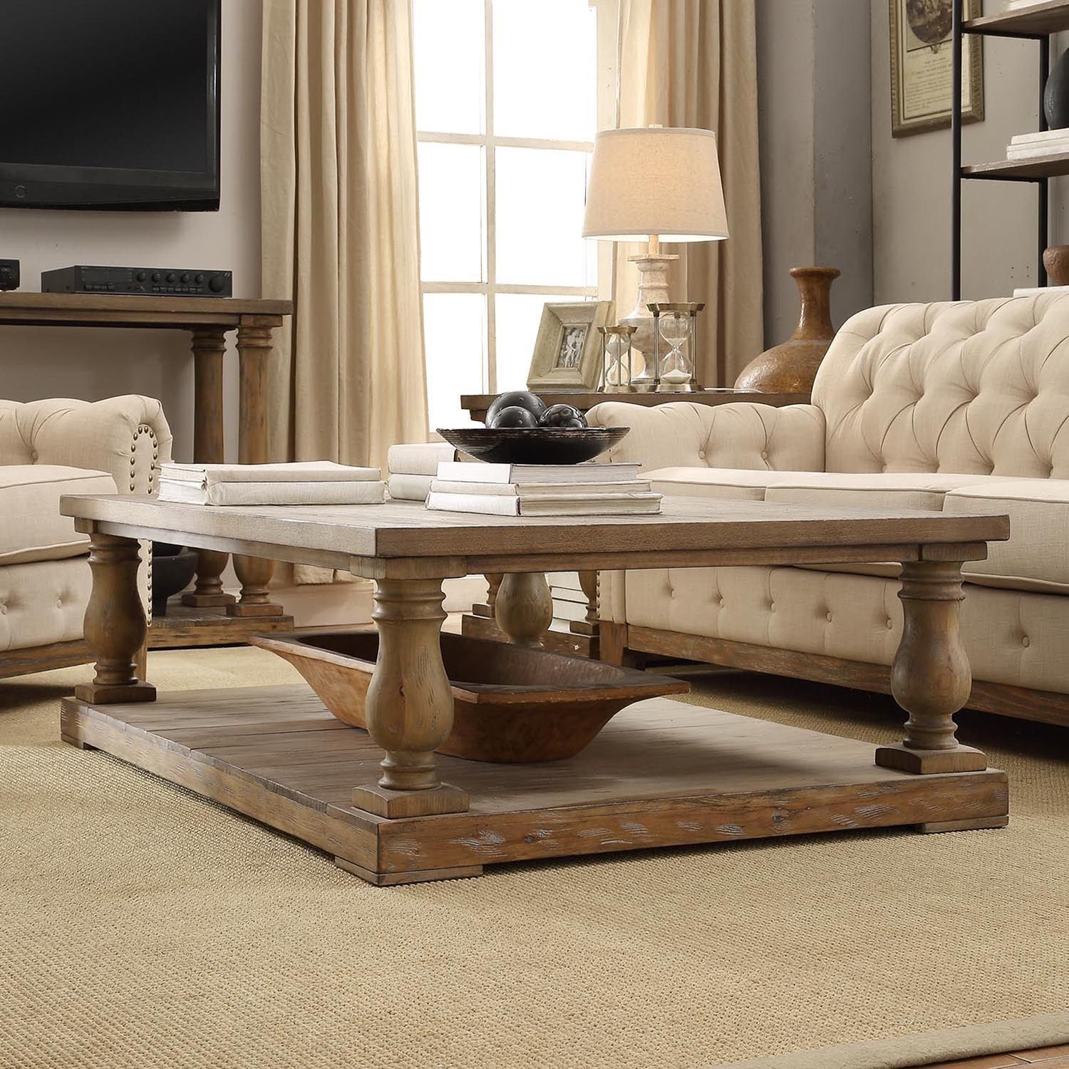 Room  INSPIRE Q Edmaire Rustic Baluster Weathered Pine Coffee Table