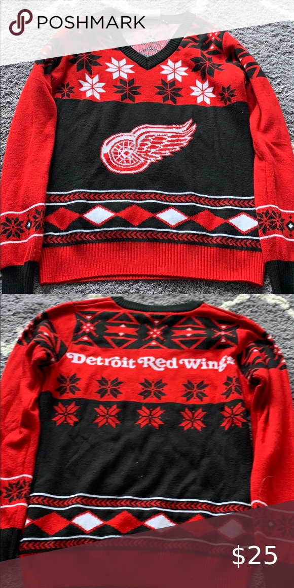 Detroit red wings Christmas sweater in 2020 Red wings