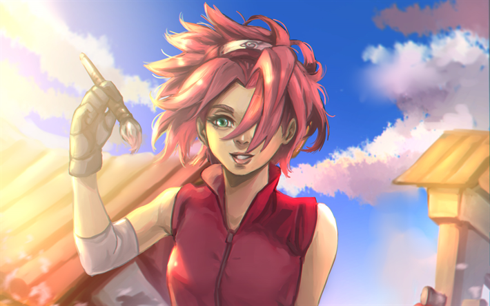 Download Wallpapers Sakura Haruno Manga Anime Characters Naruto Besthqwallpapers Com Sakura Haruno Naruto Anime